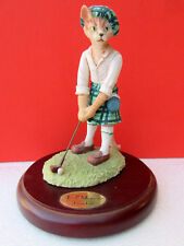 Tabby Cat Devon Rex ~ Red Mcgregor ~ Scottish Golf Player Resin Figurine