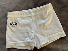 Gk Elite Shorts Leotard Silvery White Nylon Dance Mini Gymnastics Bar Sz: Cm