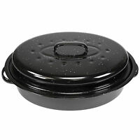 960ml Black Enamel Casserole Dish with Lid Large Cooking Roaster Baking Oven Pan