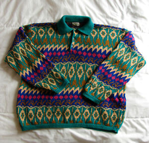 Men's Vintage United Colors of Benetton Colorful Shetland Wool Knit Sweater XL