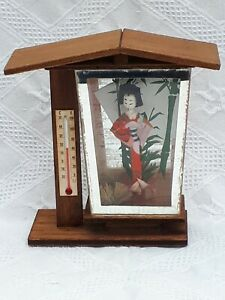 Vintage Holiday Souvenir Temperature Guage Traditional Giesha Dress Japan