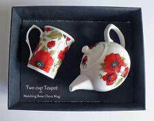 Poppy 2 cup teapot,with matching bone china mug -  gift boxed.