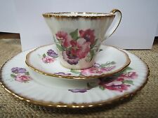 SALISBURY TEACUP, SAUCER AND PLATE - PINK AND PURPLE FLOWERS