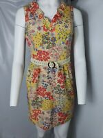 Frock By Tracy Reese Yellow Floral Sleeveless Dress With Pockets & Belt Size 8
