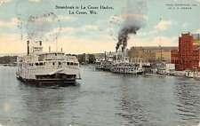 La Crosse Wisconsin Steamboats Harbor Scene Linen Antique Postcard K14355