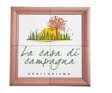 Targa ceramica mosaico insegna b&b albergo agriturismo trullo villa con cornice
