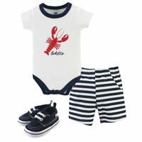 Hudson Baby Bodysuit, Shorts and Shoes, 3-Piece Set, Lobster