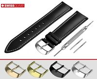 Fits ACCURIST Flat Black Genuine Leather Watch Strap Band For Buckle Clasp Pins