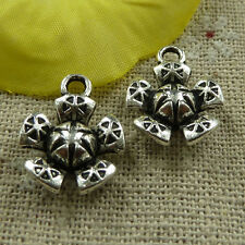 free ship 140 pieces tibetan silver flower charms 18x14mm #3758