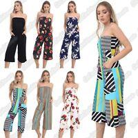 New Ladies Boobtube Floral Printed Plain Bandeau Bardot Summer Jumpsuit Playsuit