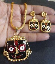Gold Plated Meenakari Orisha Puri Jagannath God Picture Pendant Earrings set