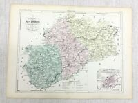 1853 Antique French Map Vesoul Haute-Saône France Hand Coloured Engraving