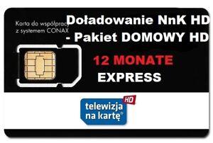 NC+TNK Pakiet Domowy  12 m-ceTELEWIZJA NA KARTĘ,DOŁADOWANIE AUFLADUNG  NC+