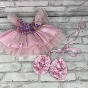 Build A Bear BABW Fairy Princess Rainbow DressTutu Sparkle Pink Ruffle w/ Shoes