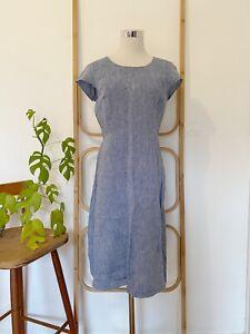 TARGET soft blue linen midi dress size 8