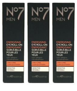 Lot of 3 No7 Men Energising Eye Roll-On, 0.5 fl. oz. Each