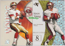 (2)E-X CENTURY/2001 BASE CARD LOT: STEVE YOUNG #2/18 49ERS CLEAR ACETATE PLASTIC