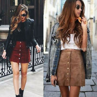 Fashion Women Girl High Waist A-line Button Front Suede Leather Short Mini Skirt