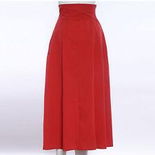 Woman High Waist Stretch Skater Full Circle Pleated A-Line Skirt Long Midi Dress