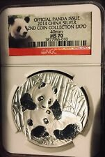 New Listing2014 China Ngc Ms70 Silver Panda Coin Collection 2nd Expo 40mm