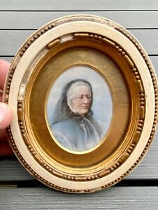 Antique victorian Miniature Portrait Painting Fine Quality Lady in Mourning