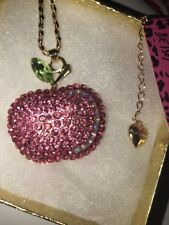 Betsey Johnson Necklace APPLE FOR TEACHER  Pink World Love 65