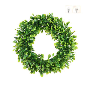 "Green Boxwood Door Wreath for Holiday, Crafts,or Decor Measures 15"" Plus 2 hooks"