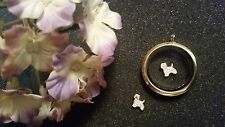 White & Gold Shih Tzu for Living Lockets Puppy Dog Floating Charm  - US Seller