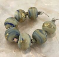 Handmade Lampwork Glass Bead Set - Organic Etched Blue Gold Grey