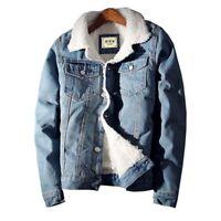 Men Winter Denim Jacket Thick Warm Fleece Inside Turn Down Collar Button Closure