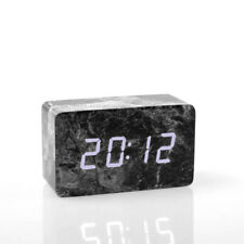 Mármol negro LED despertador digital alarma despertador reloj iluminado alarma acústica sensor