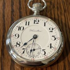 "Hamilton Pocket Watch, ""940"", 18S, 21j, Unmarked, Beautiful Gold Lettering, Runs"
