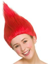 Trolls Red Wig Ladies Fancy Dress Costume Hair Accessory Halloween Adults New
