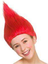 Troll Parrucca Rossa Donna Costume Accessorio Per Capelli Halloween Adulti Nuovo