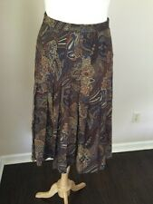 Vintage Aquascutum Made In England Pleated Wool Skirt Brown Paisley Sz S