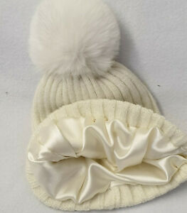 Children Kids satin lined Bobble Winter Hats Curly Hair Knitted faux fur Pom Pom