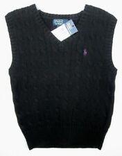 Ralph Lauren Boys Black Cableknit Vest (2/2T) NWT