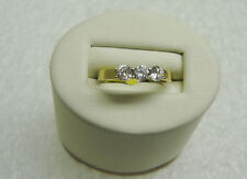 Past Present Future 14K Yellow Gold Round Cubic Zirconia Ring Size 6 G32-Y