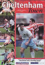 Football Programme>CHELTENHAM TOWN v SOUTHEND UNITED Feb 2002 postponed