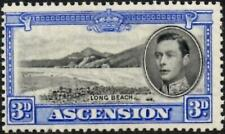 Ascension 1938 KGVI  3d Black & Ultramarine SG.42 Mint (Hinged) Cat:£100  P.13.5