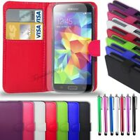 Samsung Galaxy S5 i9600 - Leather Wallet Case + Big Stylus & Screen Protector