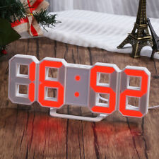 LED Digital Number Wall Clock Alarm Clock Snooze Timer 12/24H Dimming Nightlight