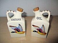 VINTAGE HAND-PAINTED CERAMIC *OIL & VINEGAR CRUET SET* DUCK MOTIF JAPAN NOS