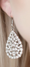 Brighter - White Paparazzi Earrings - Sparkle