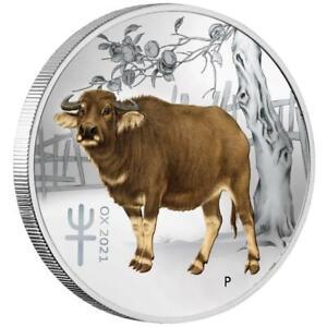 Australien - 25 Cents 2021 - Jahr des Ochsen Farbe - Perth Mint - 1/4 Oz Silber