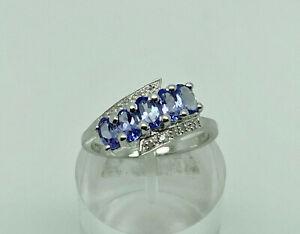Gorgeous Modern Sterling Silver Tanzanite & Diamond Bypass Band Ring Size O 1/2