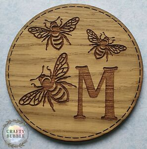 HANDMADE PERSONALISED WOODEN ENGRAVED MONOGRAM BEE COASTER