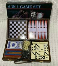 6 IN 1 GAME SET - Chess, Checkers, Backgammon, Cribbage, Dominoes, Playing Cards
