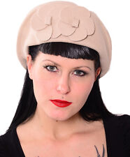Noble vintage pin up 40er Flower pillbox sombrero rockabilly retro 50s-beige