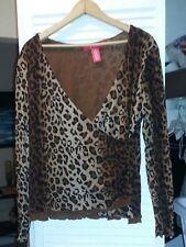 A/Line Animal Print Shirt, Long Sleeve, Women's Size XL, Brown